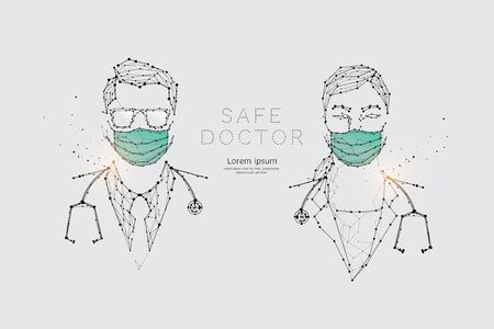 The particles, geometric art, line and dot of doctors with mask for virus protection. abstract vector illustration. graphic design concept of medical. - line stroke weight editable Ilustrace