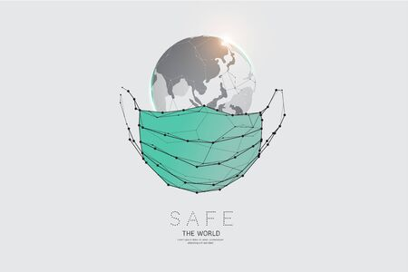 The particles, geometric art, line and dot of world and protection mask. abstract vector illustration. graphic design concept of Safety. - line stroke weight editable Ilustrace