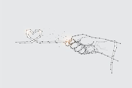 The particles, geometric art of hand pull.abstract vector illustration. the graphic design concept of love.- line stroke weight editable