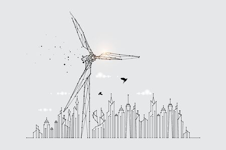 The particles, geometric art, line, and the dot of the wind turbine.