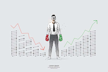 The particles, geometric art, line, and the dot of a business man. abstract vector illustration. the graphic design concept of work hard. line stroke weight editable Ilustrace