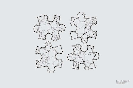 Particle art, geometry, lines, and dots. Vector graphic concept of Puzzle. The stroke weight can be modified. Ilustrace