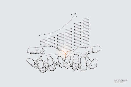Particle art, geometry, lines, and dots. Vector graphic concept of business growth. The stroke weight can be modified.