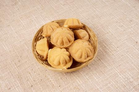 spongy: Kuih bahulu, a popular traditional Malay sweet sponge bun Stock Photo