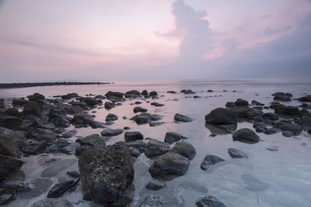 Scenic view of costal beach in Bali, Indonesia.