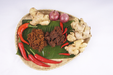 Famous traditional Malay foods during Ramadhan, Eid Fitr and Eid Adha, rendang beef. DOF and copy space.