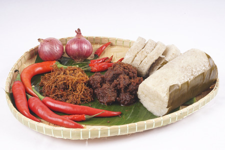 Famous traditional Malay foods during Ramadhan, Eid Fitr and Eid Adha i.e. of lemang (bamboo rice) and rendang beef. DOF and copy space.
