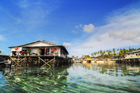 View of fisherman village in Mabul Island