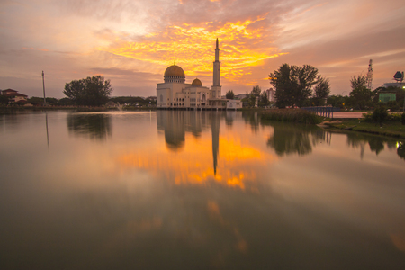 Glorious sunrise over the mosque. Stock Photo