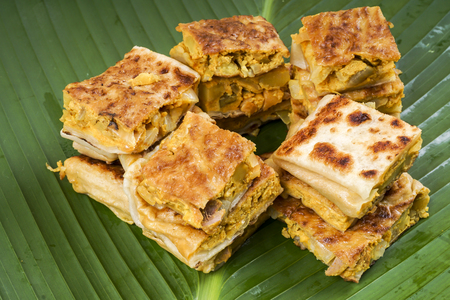 Murtabak or martabak, also mutabbaq, is a stuffed pancake or pan-fried bread which is commonly found in Saudi Arabia, Yemen, India, Indonesia, Malaysia, Singapore, Brunei and Thailand.