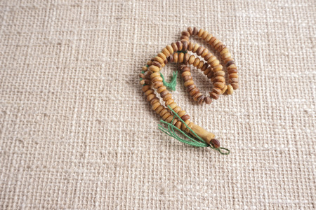 The wooden Tasbih. DOF and copy space