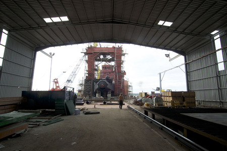 shipbuilding: Port Klang, 20 July 2014: Shipbuilding construction in Malaysia