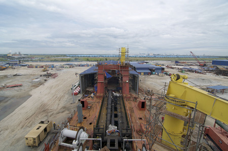 Port Klang, 20 July 2014: Shipbuilding construction in Malaysia