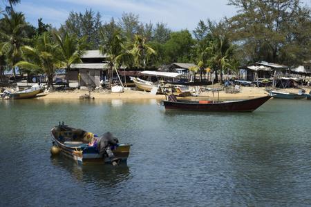 crepuscle: fisherman village on the Pantai Bersih, Penang Malaysia Editorial