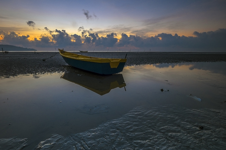 crepuscle: fisherman village on the Pantai Bersih, Penang Malaysia Stock Photo