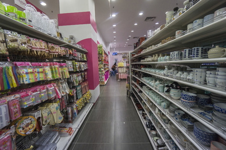 entertainment center: KUALA LUMPUR, 16 JANUARY 2017: Interior view of a Daiso shop on 16 January 2017. Daiso is the largest franchise of 100-yen-shops  with 2500 stores in Japan and 522 overseas. Editorial