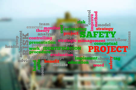 Project management conceptual cloud word with shipbuiding activity as a background. Blurred background.