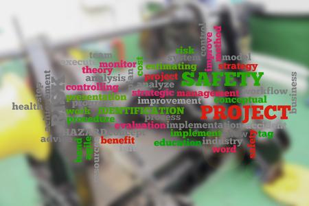 조선 활동을 배경으로 프로젝트 관리 개념적 구름 단어. 흐리게 배경입니다. 스톡 콘텐츠
