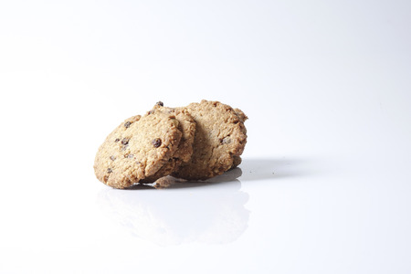 Chocolate chip cookies isolated on white.