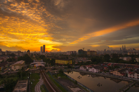 vibrance: Panorama of Kuala Lumpur at sunset. Malaysia. Low light and vibrance color. Stock Photo
