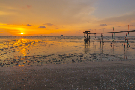 morning blue hour: Scenery of sunset captured at Pantai Remis, Selangor, Malaysia. The motion of cloud and water is due to long exposure effect. Low light Stock Photo