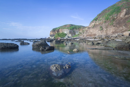 Scenic view of Lombok Beach during low tide. Nature composition