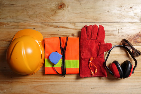 Standard construction safety equipment. Stock Photo