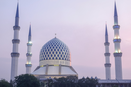 The beautiful Sultan Salahuddin Abdul Aziz Shah Mosque also known as the Blue Mosque located at Shah Alam, Selangor, Stok Fotoğraf