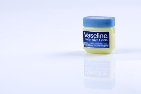 KUALA LUMPUR - 26 DEC 2016: Jar of Vaseline petroleum jelly on white background.