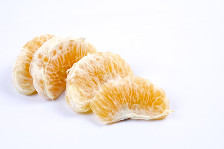 Mandarin orange citrus fruit isolated on white background.
