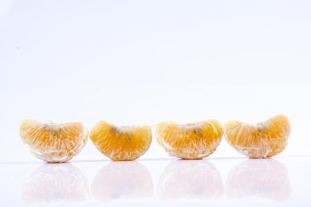 Mandarin orange citrus fruit isolated on white background.