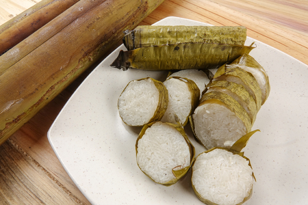 Lemang is a traditional Indonesian, Malaysian, Singaporean food and made of glutinous rice, coconut milk and salt, and cooked in a bamboo stick.