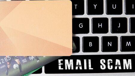 Internet security concept with card and black keyboard. Reklamní fotografie - 148815150