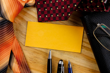 Tie,wallet,pen and yellow board. Happy Fathers Day Concept Stock Photo