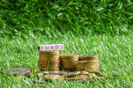Coins and FUNDs word on green background. Business and saving concept.