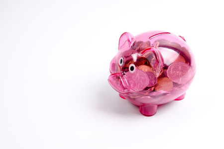 Coins in the red piggy bank isolated on white. Saving and investment conceptual. 写真素材