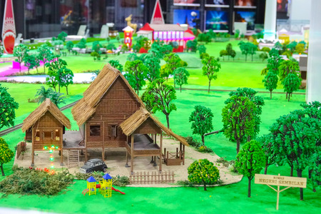 KUALA LUMPUR, 7 JANUARY 2019. Miniature of playground which consist of traditional houses,church,kid playground and street in Malaysia. Editorial