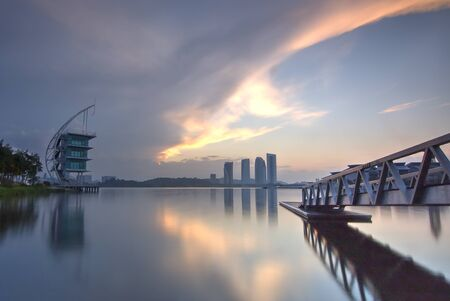 Putrajaya Building with beautiful sunrise. Stock Photo