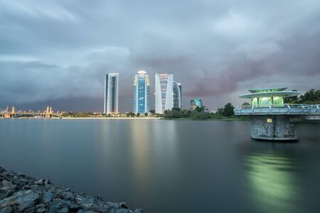 Putrajaya building during cloudy sunset.