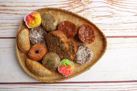 Asian traditional sweet desert on wooden board. Stock Photo
