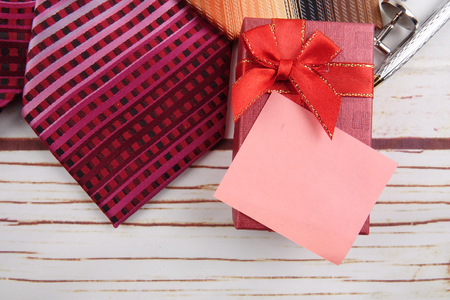 HAPPY FATHER'S DAY CONCEPT with gift box,tie,cufflin and pen . Stockfoto