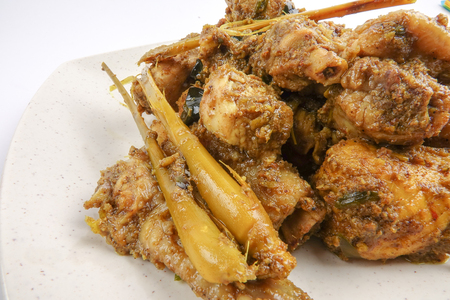curry chicken rendang cooked in indian style with spicy sauce and chilli Stock Photo - 97354023
