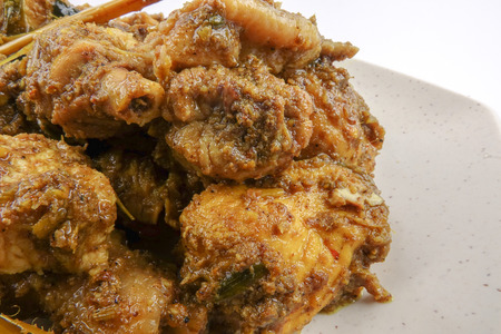 curry chicken rendang cooked in indian style with spicy sauce and chilli Stock Photo - 97354027