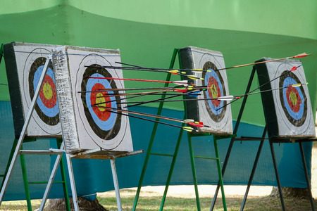 A Archery targets at various distances on a range