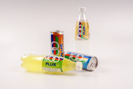 KUALA LUMPUR, MALAYSIA - AUGUST 16TH, 2016. 100Plus is a brand of carbonated isotonic sports drink manufactured by Fraser & Neave Limited, a global food and beverage conglomerate based in Singapore.