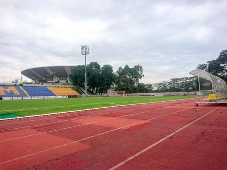 KUALA LUMPUR, 2 JUNE 2018. football field with green grass at sunny day.