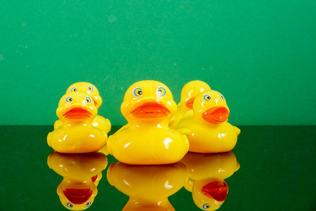 A group of ducks following big duck with reflection over green background. Leadership conceptual.