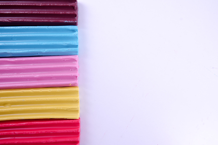 Modelling clay of different colors background Stock Photo