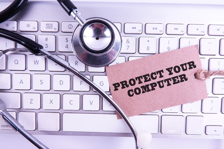 Healthcare and medicine or computer antivirus protection and repair maintenance service concept
