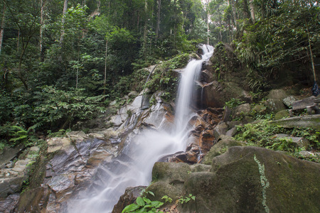 small waterfalls in tropical forest. Stok Fotoğraf